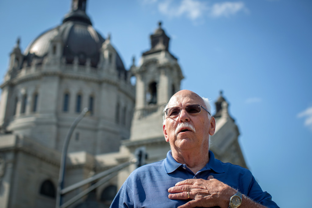 Frank Meuers, director of the southern Minnesota chapter of Survivors Network of those Abused by Priests, speaks to the media about criminal charges against the Archdiocese of Saint Paul and Minneapolis recently. Jennifer Simonson/Minnesota Public Radio via AP