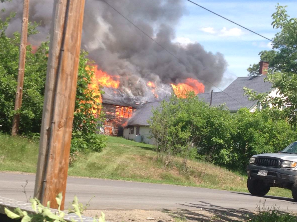 A barn fire is seen Saturday on Rutland Road in Newport. (Photo by Jason Emery)