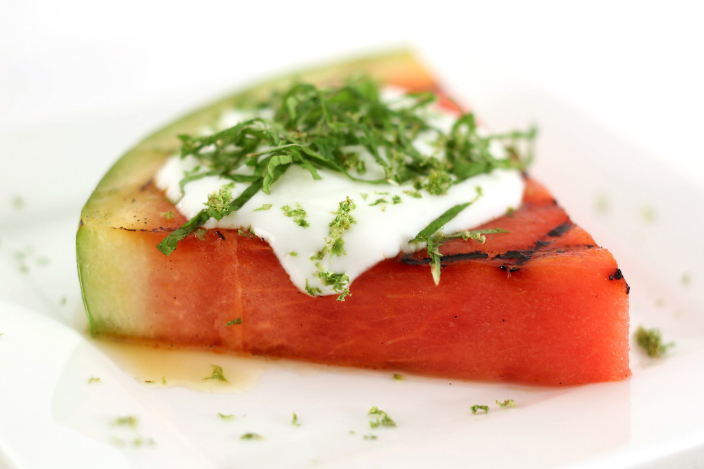 Grilled watermelon with lime, mint honey, and yogurt