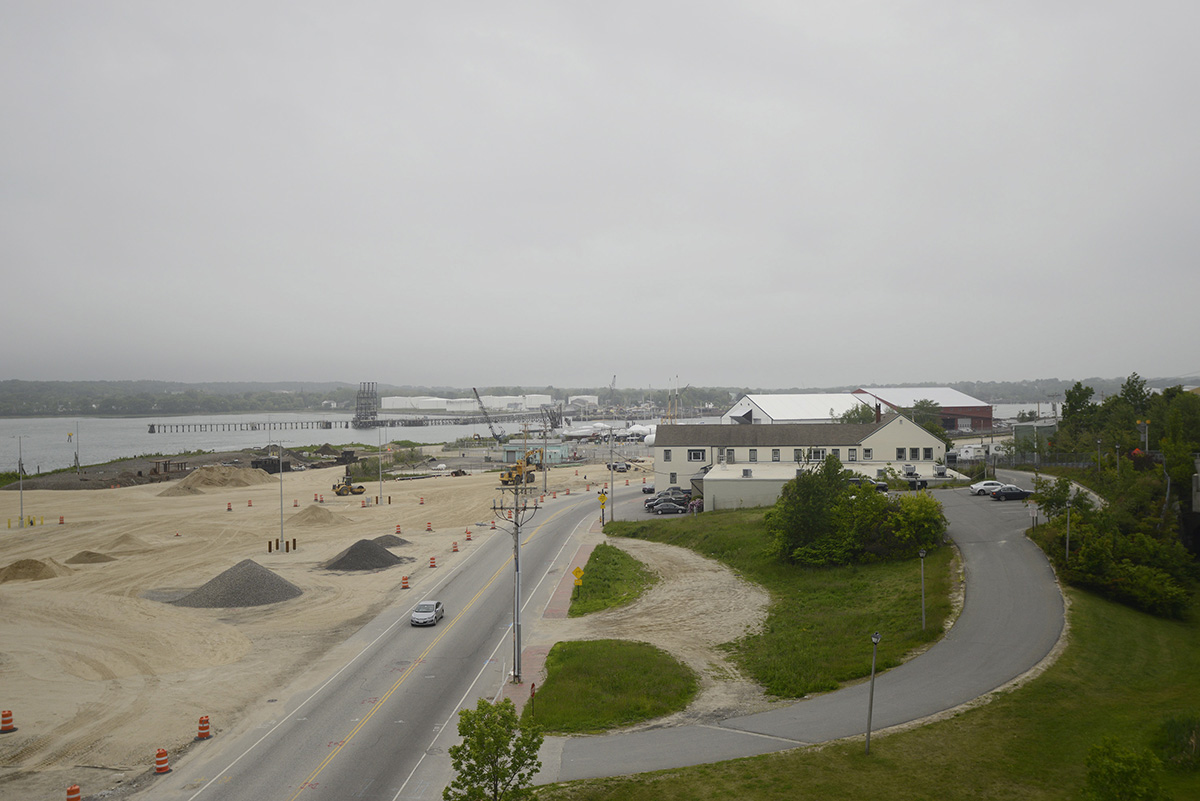 A view of Portland's International Marine Terminal construction site, looking west on Commercial St. from the Casco Bay Bridge on Tuesday, June 9, 2015.