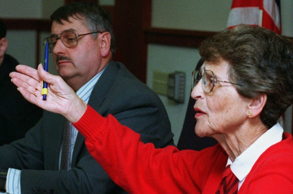 Esther Clenott, then-Cumberland County Commissioner, questions June Koegel, CEO of Volunteers of America, during a public hearing on the organization. in this 1997 photo. Press Herald file