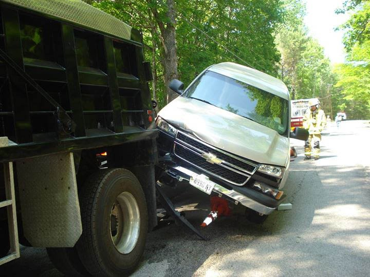Windham police say Roger Hanson got stuck when he drove his SUV onto a construction trailer on Nash Road. Windham police photo
