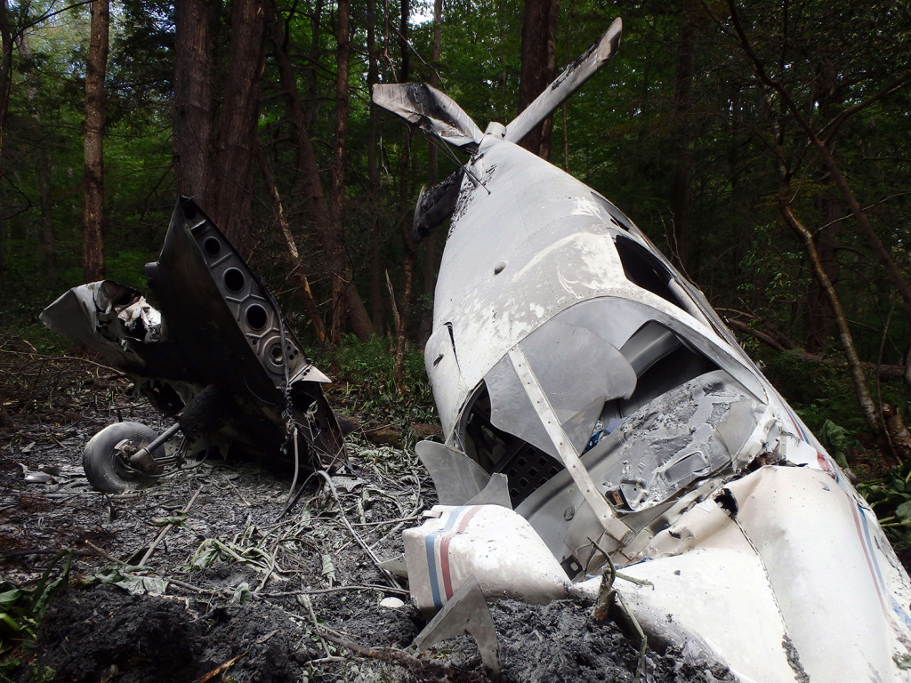 A small plane registered to a man from Biddeford crashed in the woods in North Hampton, N.H., after takeoff from Hampton Airfield on Sunday. Photo courtesy of North Hampton Police Department.