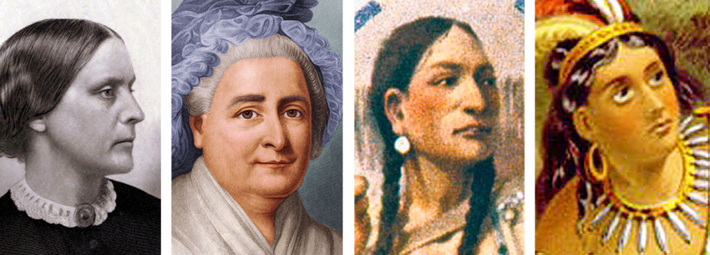 Women who have appeared on U.S. currency include, from left, Susan B. Anthony, Martha Washington, Sacagewea and Pocahontas.