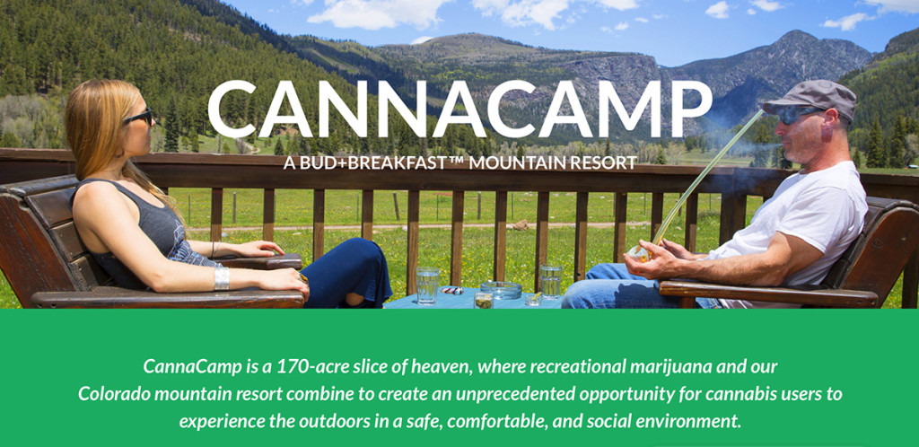 A screen image of the CannaCamp homepage shows campers enjoying a toke amid the great outdoors.