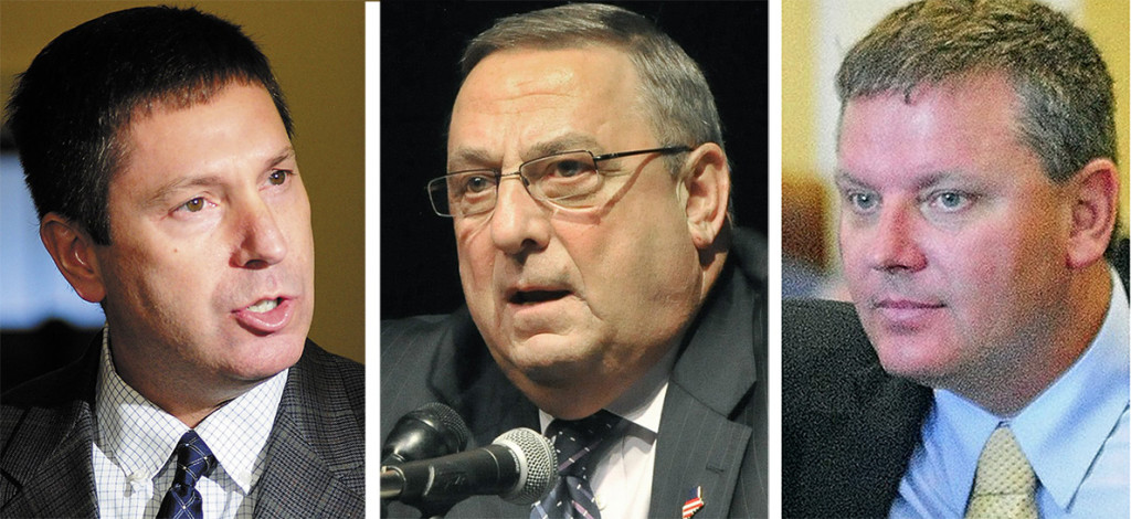 From left: Republican House leader Kenneth Fredette, Gov. Paul LePage and Senate President Michael Thibodeau.