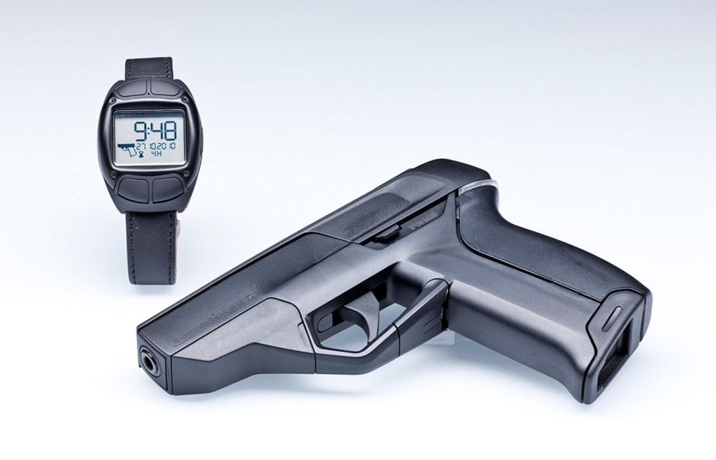 An Armatix iP1 .22-calibre pistol smart gun pistol and iW1 Radio-frequency identification active wrist watch.