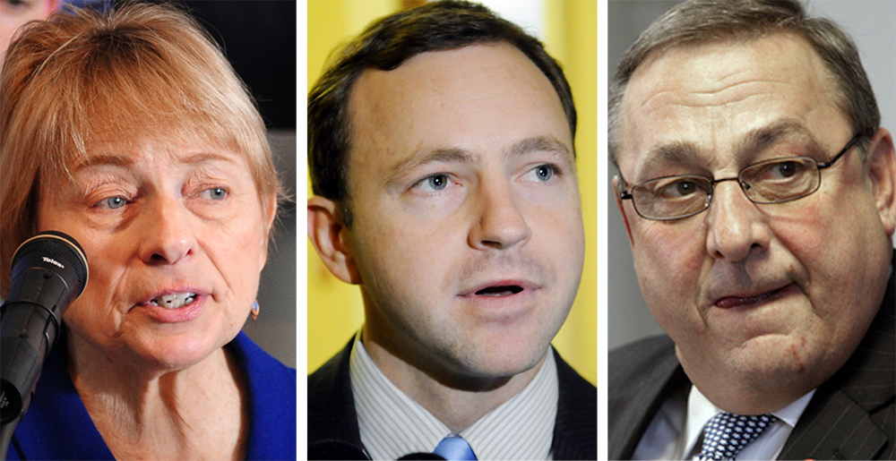 Gov. Paul LePage says he stands by his tactics blocking the appointment of House Speaker Mark Eves, center, as president of Good Will-Hinckley school – tactics that Attorney General Janet Mills, left, says she finds
