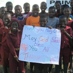 Students at Holy Cross Catholic School in South Portland received this photo Monday showing students in Ngamo, Zimbabwe, thanking them for raising money to help pay their school fees.