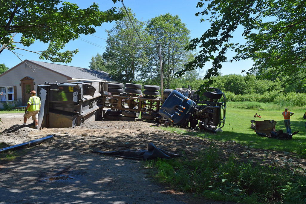 The driver of this dump truck, Philip Mackerron, 57, was taken to Maine Medical Center with minor injuries. Gorham Police Department photo
