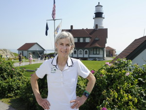CAPE ELIZABETH, ME - JULY 28: Portrait of Joan Benoit at Portland Head Light in Cape Elizabeth. (Gordon Chibroski/Staff Photographer)