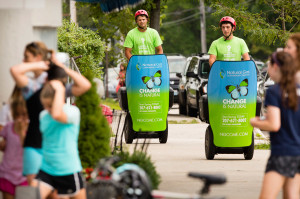 Tim Gilboe and Blake Ivers of EMG3 marketing group of Falmouth ride Segways in Yarmouth to promote natural gas home heating.  Carl D. Walsh/Staff Photographer