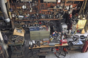 The Whitefield workshop of the late sculptor Roger Majorowicz is shown in a photo taken on Wednesday as Farrin Country Auctions staff sets up for an on-site estate auction on Saturday.