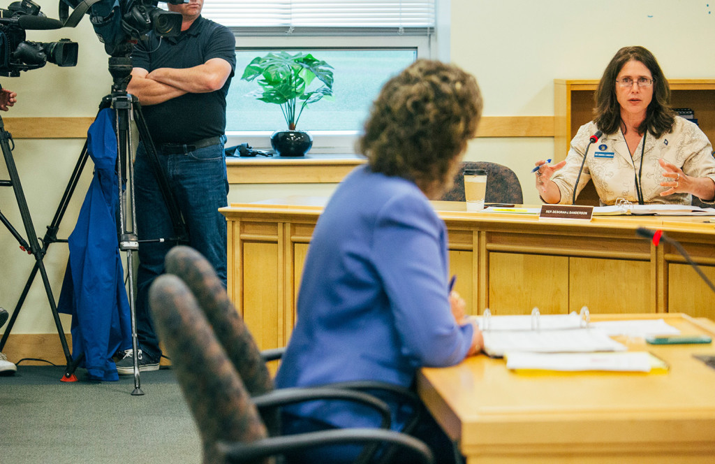 Rep. Deborah Sanderson, R-Chelsea, a member of the Legislature's Government Oversight Committee, speaks to OPEGA Director Beth Ashcroft in Augusta on Wednesday.