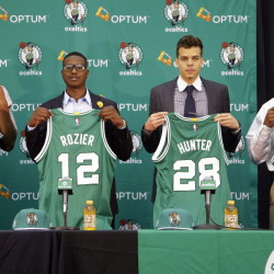 Boston Celtics draft picks Jordan Mickey, from left, Terry Rozier, R.J. Hunter and Marcus Thornton are introduced to the media at the Celtics basketball training facility Tuesday in Waltham, Mass. The Associated Press