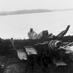 This 1934 photo released by the Naval History and Heritage Command, shows the remains of the hull of Royal Savage, a continental schooner from 1776, being raised from Lake Champlain near Plattsburgh, N.Y.