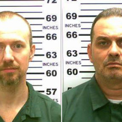 FILE - This combination of file photos released by the New York State Police shows David Sweat, left, and Richard Matt. Matt, who staged a brazen escape from an upstate maximum-security prison with Sweat and had been hunted for three weeks was shot and killed Friday, June 26, 2015, but Sweat, is still on the run. (New York State Police via AP, File)