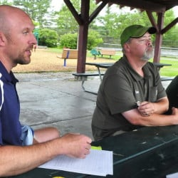 A day at the park is much more pleasant for Waterville Parks and Recreation Director Matt Skehan, left, and employees Steve Buzzell and Sam Green since the city ruled that those who use parks are expected to remove their own trash.