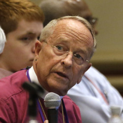 Bishop Gene Robinson, who in 2003 became the first Episcopal bishop to live openly with a same-sex partner, attends the Episcopal General Convention.