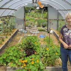 "In her self-built greenhouse and gardens in her Portland yard, Maureen Costello grows enough produce that her family eats ""fresh food at least six months of the year, and in a good year it is closer to nine months."""