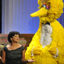 Actress Sonia Manzano performs with Big Bird at the Daytime Emmy Awards in Los Angeles in 2009.