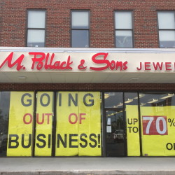 Customers in South Portland on Thursday evening found this sign in the storefront window of G.M. Pollack & Sons Jewelers. Dennis Hoey/Staff Writer
