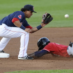 New Hampshire's Roeman Fields steals second base as Portland shortstop Marco Hernandez receives the late throw. The Sea Dogs scored on a wild pitch in the 16th inning for a 6-5 victory at Hadlock Field.