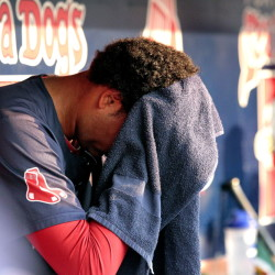 Sea Dogs starting pitcher Heri Quevedo buries his head in a towel after being pulled from the game in the second inning against the New Hampshire Fisher Cats on Friday. Quevedo gave up six earned runs on five hits.