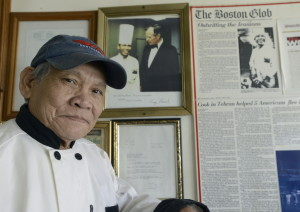 Somcha Sriweawnetr – Chef Sam – runs Thai Blossom on Main Street in Rangeley. When patrons read the newspaper clippings on his restaurant walls, many track him down in the kitchen to shake his hand.