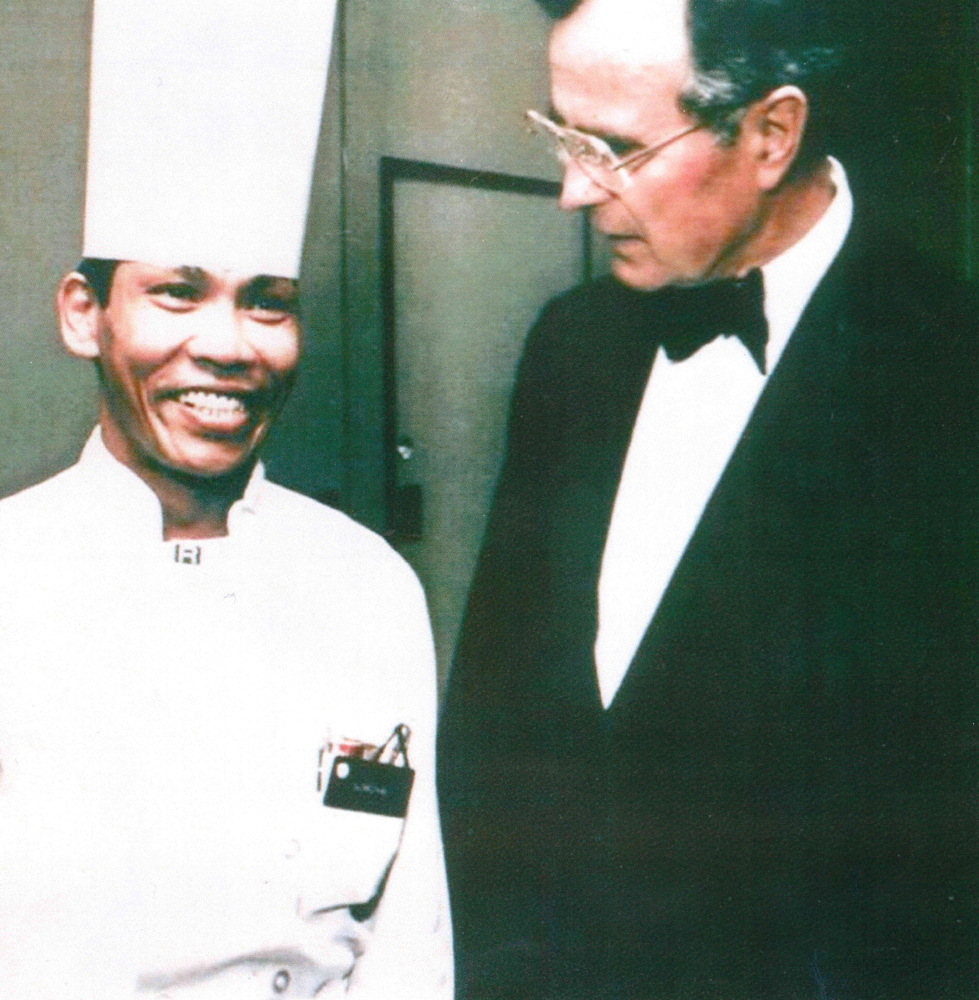 """Somcha Sriweawnetr, left, nicknamed """"Chef Sam"""" by George H.W. Bush, remains modest about his exploits in Iran."""