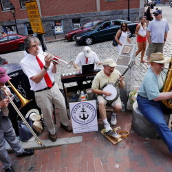 The State Street Traditional Jazz Band is giving free public concerts each Sunday during the summer, weather permitting, at Fore and Moulton streets in Portland's Old Port. Photos by Derek Davis/Staff Photographer