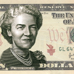 An image released by the Treasury Department shows a possible design for the $10 bill featuring Margaret Chase Smith.