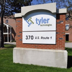 Tyler Technologies offices in Falmouth, Maine They recently moved their Maine Corporate Offices and some other departments to the former Cole Haan Corporate Office Building in Yarmouth after purchasing it and will divide staff between the two sites, according to John Marr, CEO.