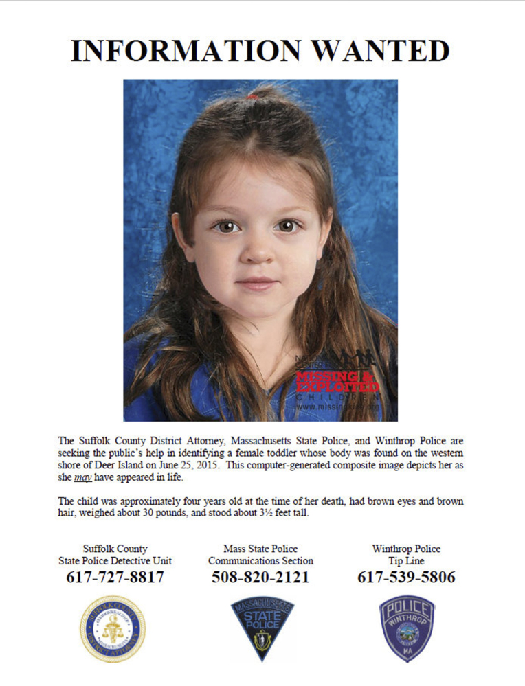 This flyer released in July by the Suffolk County Massachusetts District Attorney includes a computer-generated composite image depicting the possible likeness of a young girl, whose body was found on the shore of Deer Island in Boston Harbor on June 25, inside a bag that also contained a black and white zebra-print blanket.