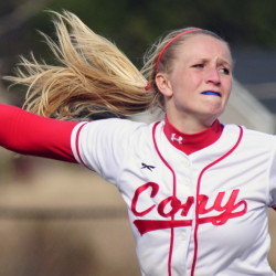 "Cony's Arika Brochu brought a fierce competitiveness as both a pitcher and a hitter. ""She was probably the most competitive athlete I've ever coached against,"" said Bangor Coach Don Stanhope."