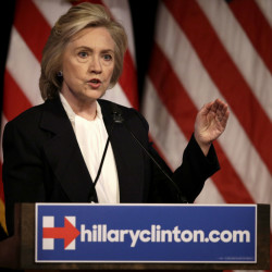 Democratic presidential candidate Hillary Clinton speaks at a campaign event in New York on Monday. In the first major economic speech of her presidential campaign, said that as president she would crack down on Wall Street excess and build an economy that would rejuvenate wages.