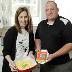 Nancy Polito with a bowl of Papa's Juicy Noodles, and her nephew Armand Polito III, with a package of their product.