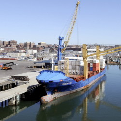 The first of Eimskip's container ship service docked in Portland last night and unloaded 96 containers from the 426 ft. Skogafoss today Sat. March 30,2013 at the Portland International Marine Terminal.