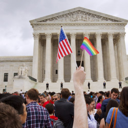 The crowd outside the Supreme Court in June celebrates after the court declared same-sex couples have a right to marry.