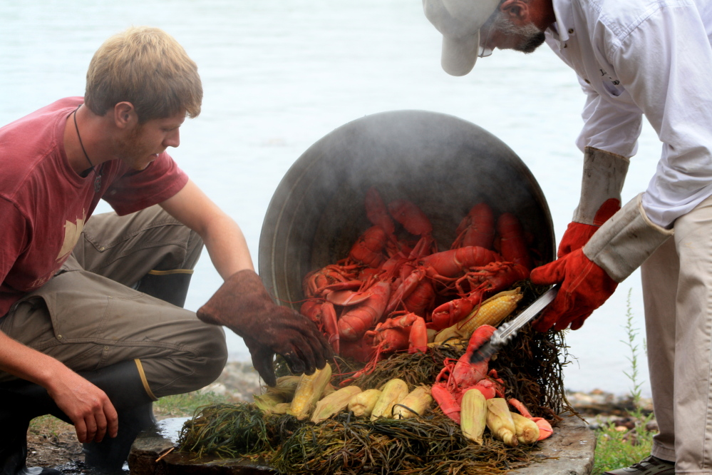 Serving up the traditional lobster bake.