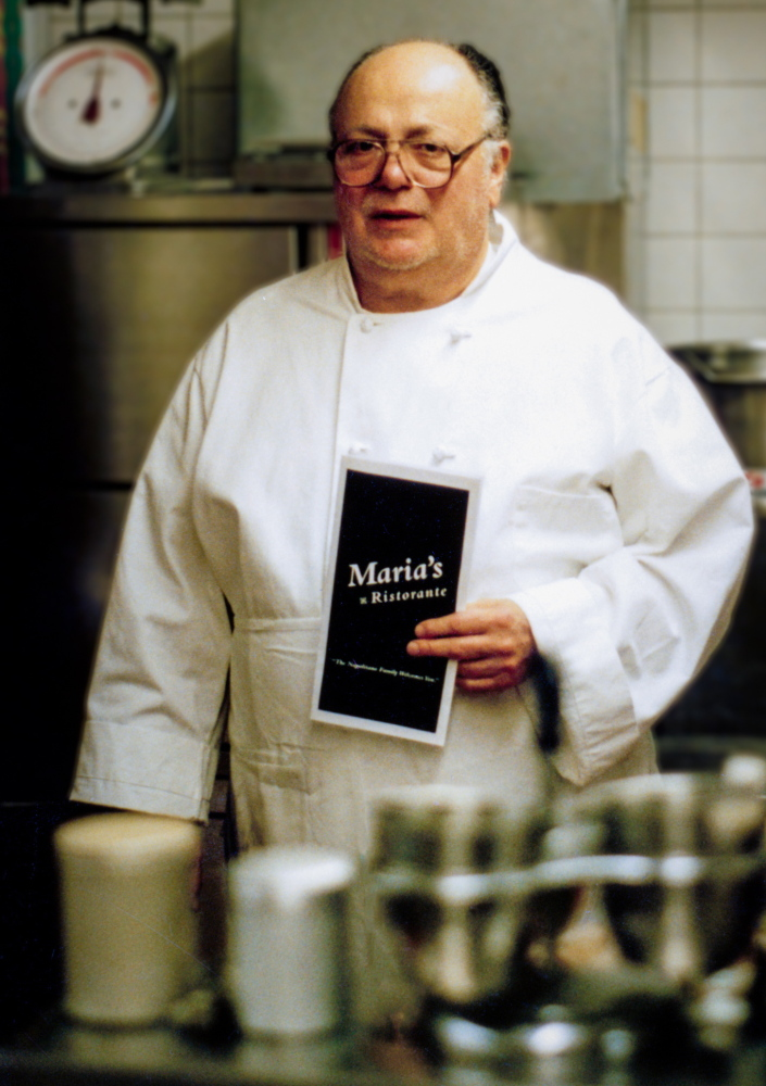 Anthony J. Napolitano, in the kitchen at Maria's Ristorante, is credited with educating diners about classic Italian food. His wife of 54 years, Madeline Napolitano, also worked at the restaurant.