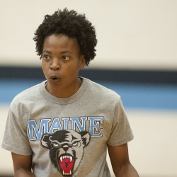 Edniesha Curry has wasted no time getting to work with UMaine. She had been helping to develop a women's basketball program in Vietnam.