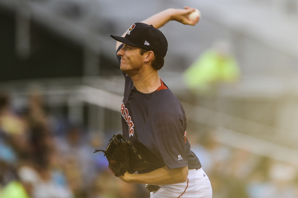 Sea Dogs pitcher Mike McCarthy turned in a solid outing Friday night against the New Hampshire Fisher Cats, allowing just one run in five innings as Portland rolled to a 10-5 victory. Whitney Hayward/Staff Photographer