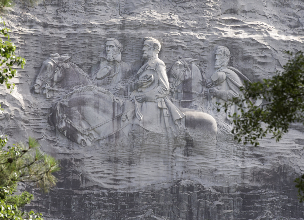 With Confederate symbols coming down throughout the South, the famous depiction of three Civil War figures on a Georgia mountain has some calling for its removal.
