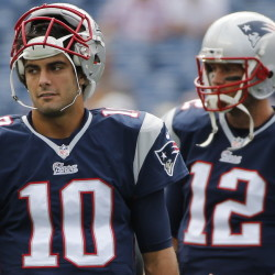 AT QUARTERBACK: Second-year quarterback Jimmy Garoppolo, left, might have to fill in for the Patriots, at least for a while, if Tom Brady's four-game Deflategate suspension isn't overturned.