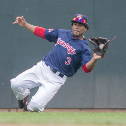 Sea Dogs outfielder Aneury Tavarez makes a sliding catch on a sinking liner to left field in the sixth inning against the Fisher Cats at Hadlock Field in Portland on Sunday.