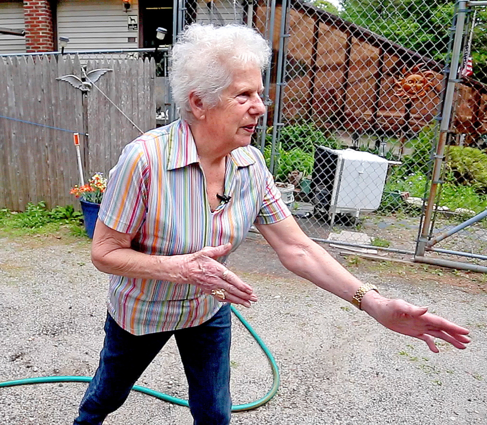 """Ann Lake, 82, shows she still remembers some of the moves from her successful career as a pro wrestler. Lake and her sister Ruth may have been the first female tag team. """"I can still take care of myself,"""" Lake says. """"I just can't throw 100 pounds over my head anymore."""""""