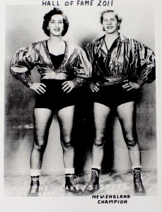 Ann Lake, right, and her sister Ruth were inducted into the New England Pro Wrestling Hall of Fame in 2011.