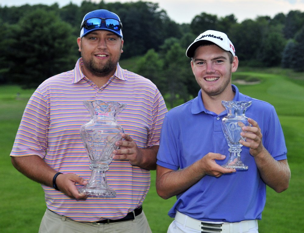 Matthew Campbell, left, won the professional division and Sam Grindle was first amateur at the end of the second day of the Charlie's Maine Open on Tuesday at Augusta Country Club in Manchester.