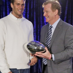 New England Patriots quarterback Tom Brady poses with NFL Commissioner Rodger Goodell during a news conference Feb. 2 after the Super Bowl XLIX in Phoenix. The Associated Press